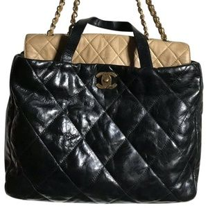 CHANEL large Leather Two Tone Tote Bag Msrp $4,000